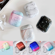 цена на For AirPods Case luxury colorful marble Gradient color Pattern Protective hard Case Cover sFor Airpods 2 Bluetooth Earphone Case