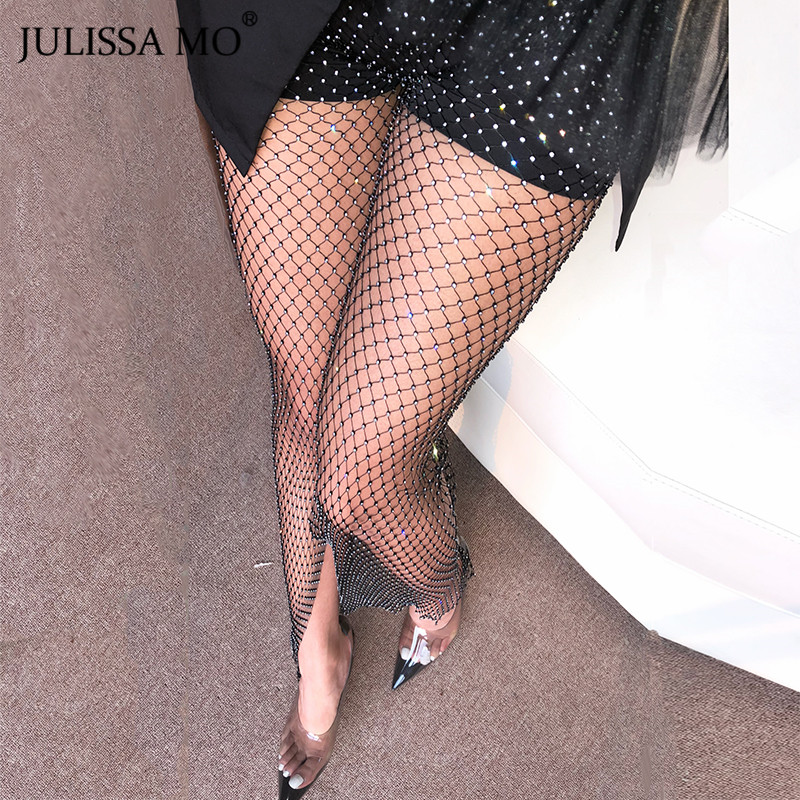 JULISSA MO Crystal Diamond Wide Leg Pants Women Sexy Hollow Out Transparent Mesh Trousers Winter Fishnet Beach Party Pants 2019