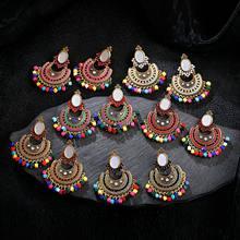 Boho clássico feminino contas borla earrngs vintage egito geométrico paquistão ouro indiano jóias jumkas