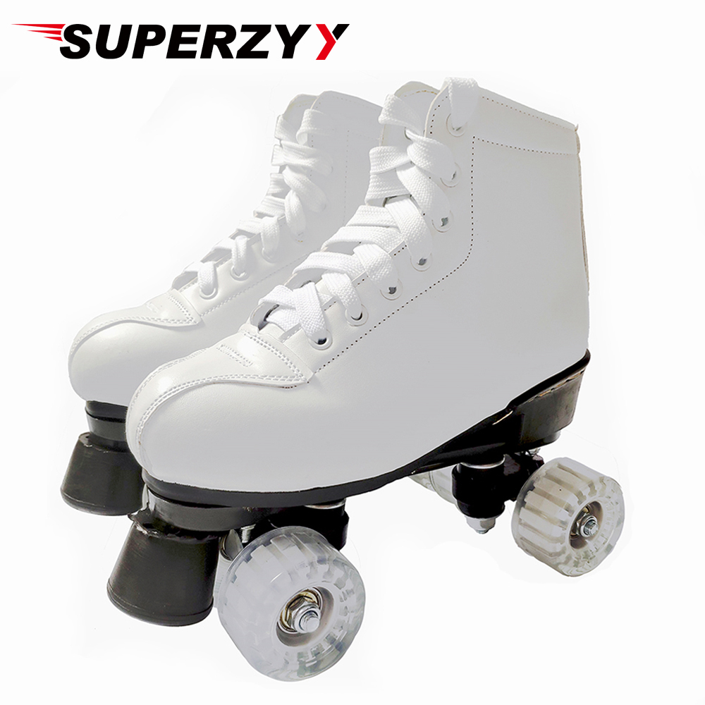 Double Row Roller Skates Shoes Womam Men Adult Artificial Leather Outdoor Patins With Transparent PU Wheels