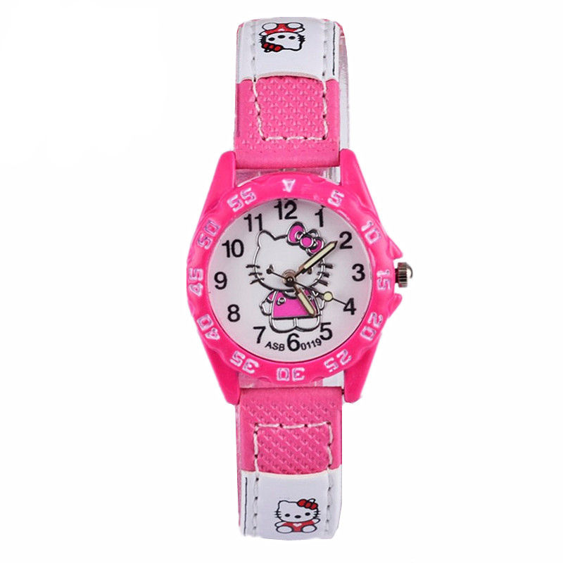 Cute Pink Simple Watches Girl Lovely Cartoon Watch Kids Children Student Leather Quartz Watch Baby Clock Gift Boys Montre Enfant