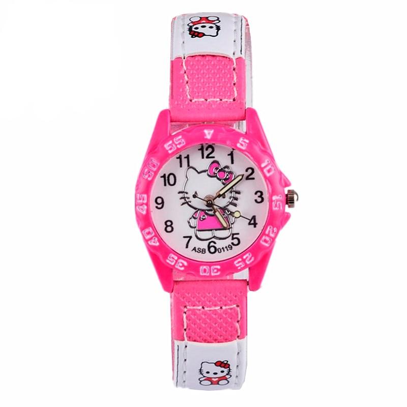 Cute Pink Simple Watches Girl Lovely Cartoon Watch Kids Children Student Leather Quartz Watch Baby Clock Gift Boys Montre Enfant