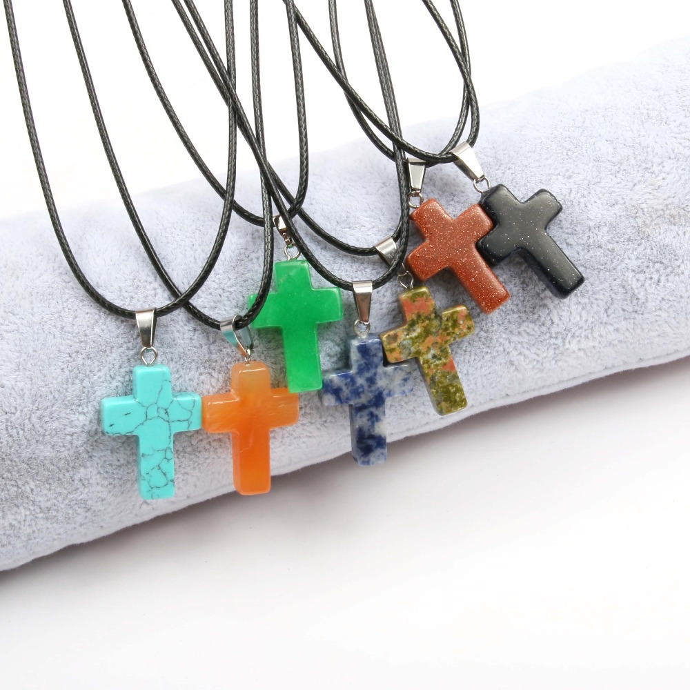 Wholesale Natural Stone Pendant Necklace Simple Cross Shape Crystal Agat Tiger Eyes Stone Necklace Good Quality Necklace Jewelry