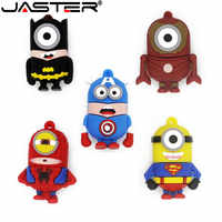 JASTER Minions Memory Stick 32GB/8GB/64GB Pendrive SuperMan SpiderMan Captain American Model USB Flash Drive Pen Drive U Disk
