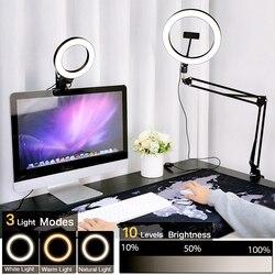 Кольцевая лампа с держателем и зажимом для селфи, светодиодный светильник с регулируемой яркостью, светильник цевая лампа с USB для фото-и ви...
