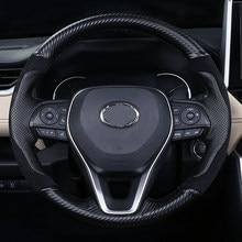 Funda de cuero para volante de coche, cubierta cosida a mano para Interior de vehículo Rav4 de fifth generación, 2020