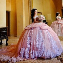 Quinceanera-Dresses Sweet 16 Ball-Gown Prom-Dress Masquerade-Gowns Tulle Pink with White