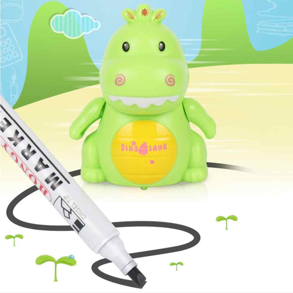 Magic Pen Inductive Dinosaur Car Vehicle Toy Following Black Line Induction Rail Track Car With Charging Light Music For Kids