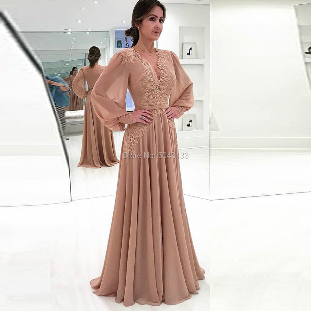 2020 New Long Sleeves Chiffon Mother Of The Bride Dresses Formal Godmother Evening Wedding Party Guests Gowns V Neck Plus Size
