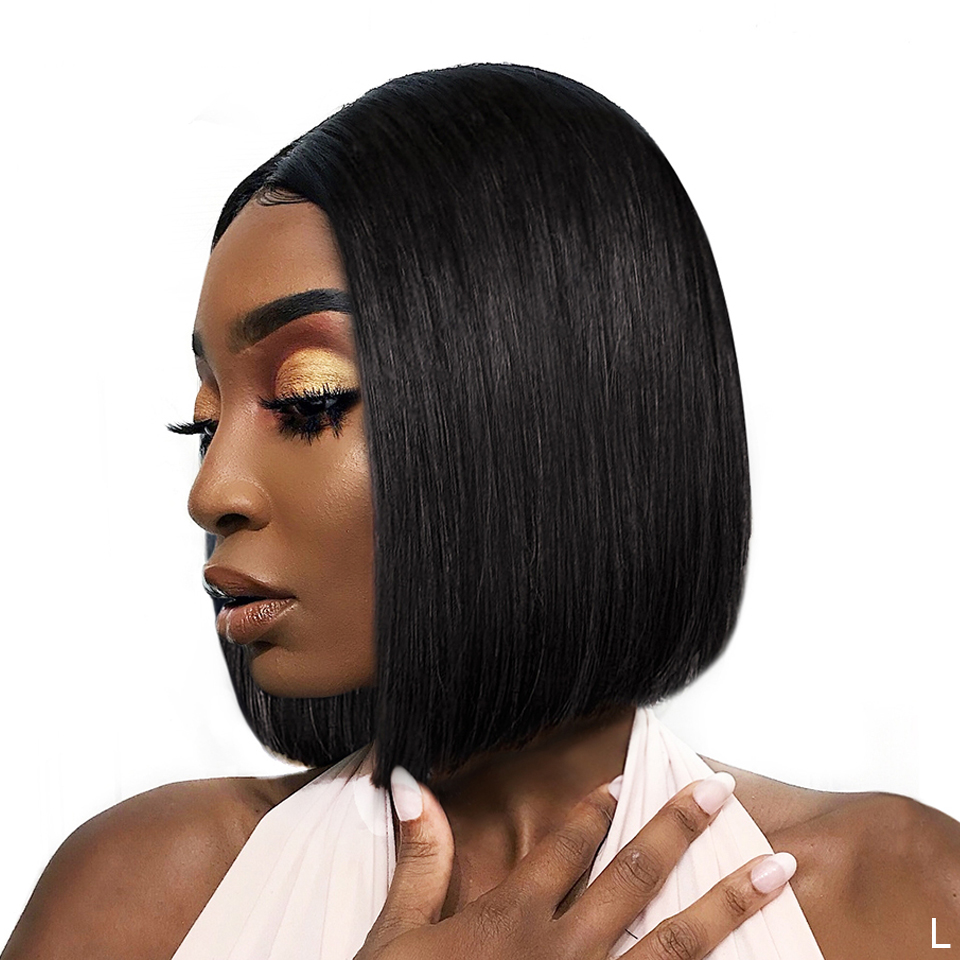 13x4 Lace Front Wig Remy Straight Short Bob Wig For Black Women Real Elite Human Hair Toppers Extensions With Baby Hair 150%