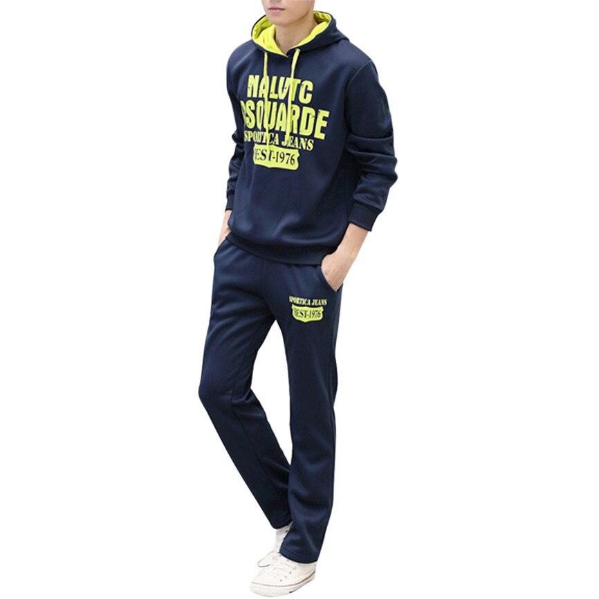 Men's Autumn Winter Long Sleeved Alphabetic Printing Hoodie Leisure Sports Suit Tops Pants Set Tracksuit Streetwear Sweatshirt
