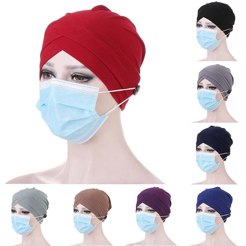 Сплошной цвет мусульманский тюрбан шляпа для женщин модные кнопки льняные внутренние шапочки под хиджаб обернуть голову хиджабы-шарфы кап...