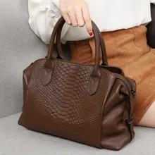 Vintage crocodile real leather travel bag