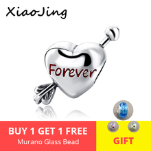 XiaoJing 100% 925 sterling silver crystal bead  heart with Cupids arrow forever charm fit Pandora Bracelet Jewelry for gift