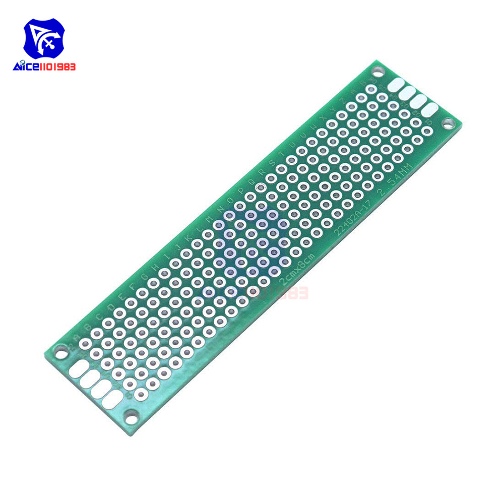 Diymore 1 Piece FR4 Glass Fiber DIY Double-Sided Prototype Board 2x8cm Double Sided Universal Printed Circuit Board