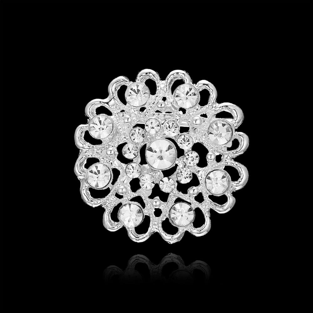 Crystal Brooch Pins Women Purple Flower Broches stainless steel Jewelry Fashion Wedding Party Brooch Fashion Jewelry