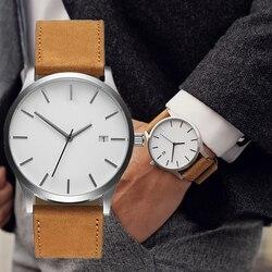 Men's watch 2019 Unisex Fashion Leather Band men Quartz Men's Wrist Watch Clock Minimalist watch montre homme erkek kol saati