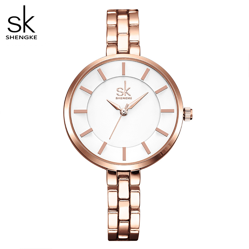 SK Ladies Simple Round Dial Rose Gold Bracelet Womens Watches 2017 Top Brand Dress Quartz Watch Watches Women Montre Femme