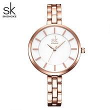 Sk senhoras simples mostrador redondo rosa pulseira de ouro das mulheres relógios 2020 marca superior vestido de quartzo relógios feminino montre femme