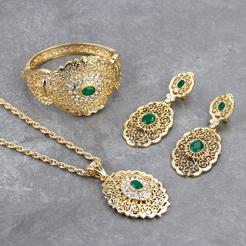 Sunspicems Chic Morocco Wedding Jewelry Set Gold Color Drop Earring Cuff Bracelet Bangle Pendant Necklace Arab Hollow Metal Gift