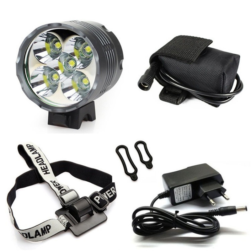 7000lm 5*XML-T6 LED Bike Light Flashlight Bicycle Headlight Front Light Headlamp +9600mAh Battery Pack Cycling Bike Accessories