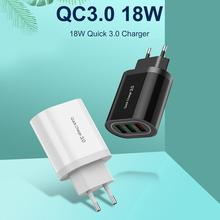New 18W QC3.0 Charger 3 USB Fast Charging Mobile Phone Wireless for Travel iPhone XI Pro XS  Huawei P30 P20 Xiaomi 9