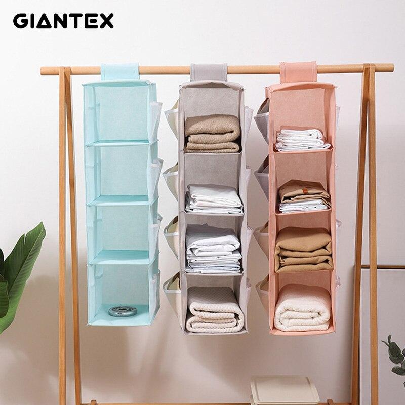 4 Pockets Closet Wardrobe Hanging Clothes Organizers Fabric Storage Bag Hanger Home Drawer Organizer Stand Holder