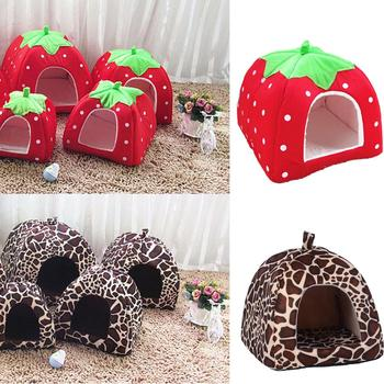 Soft Strawberry Pet Dog Cat House Comfortable Kennel Doggy Bed Foldable Fashion Cushion Basket Cute Animal Cave Pet Products image