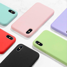 Solid Color Silicone Couples Cases for iPhone 7 8 X XS XR Cute Candy Simple Fashion Phone Case  Max Plus