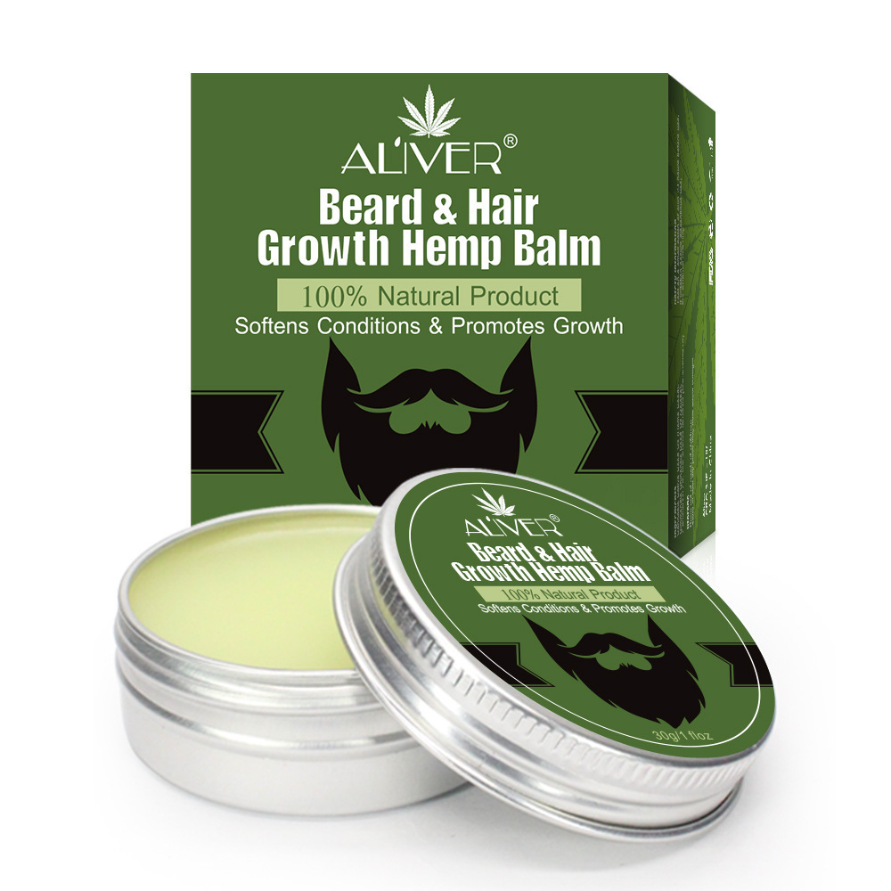 Men Organic Beard Hemp Oil Balm CBD Oil Moustache Wax Styling Beeswax Moisturizing Smoothing Beard Care Natural Hemp Balm