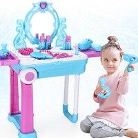 disney frozen baby girls toys disney princess Makeup table beauty toy suitcase set toys for girls kids makeup