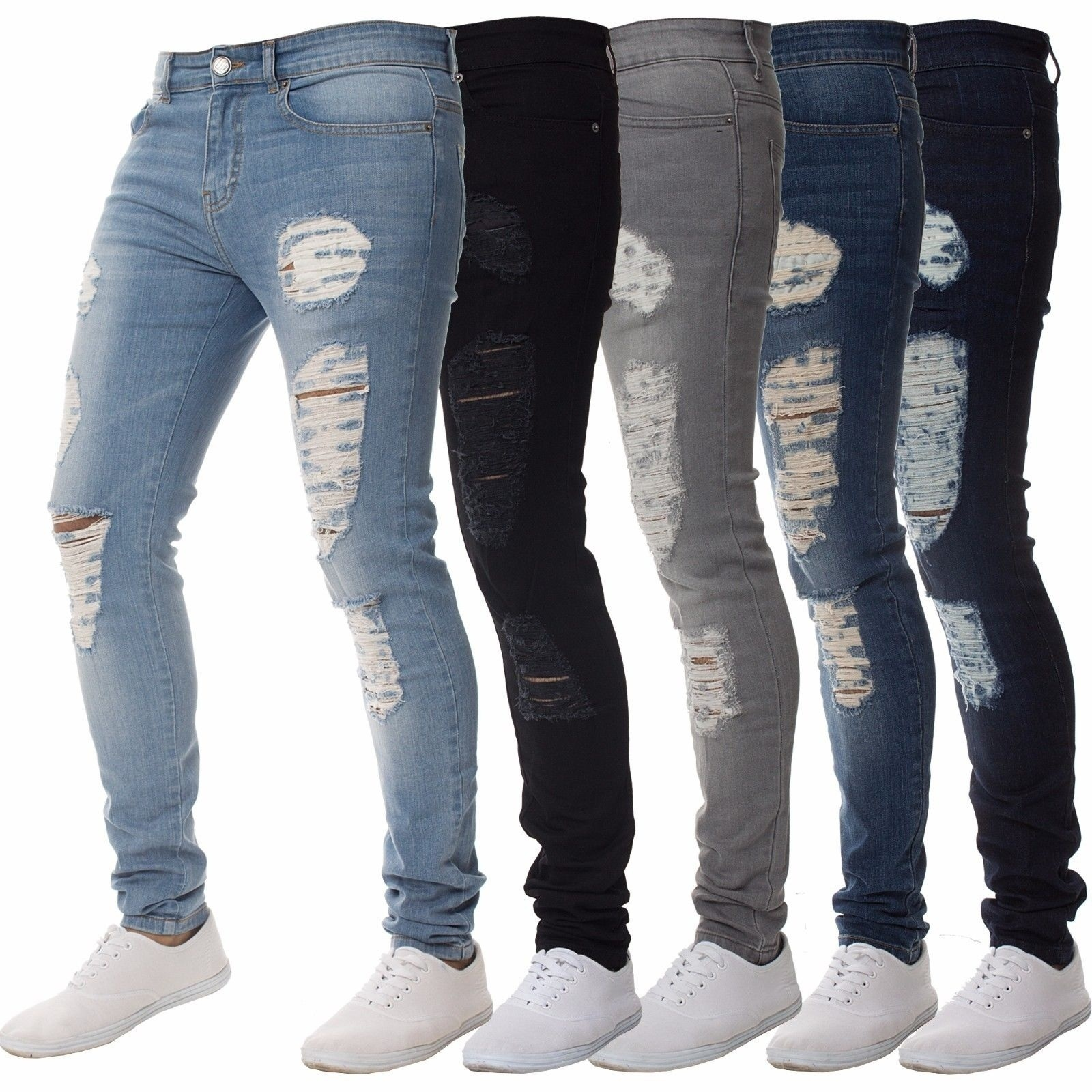 Mens Solid Color Jeans 2020 New Fashion Slim Pencil Pants Sexy Casual Hole Ripped Design Streetwear Spring And Summer
