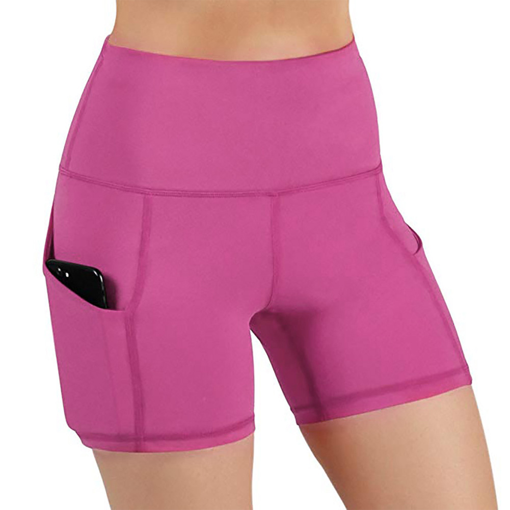 Women Yoga Shorts Sports Elastic Quick Dry Summer Solid Workout With Pocket High Waist Sweat Absorbing Slim Fit Gym Tights Soft