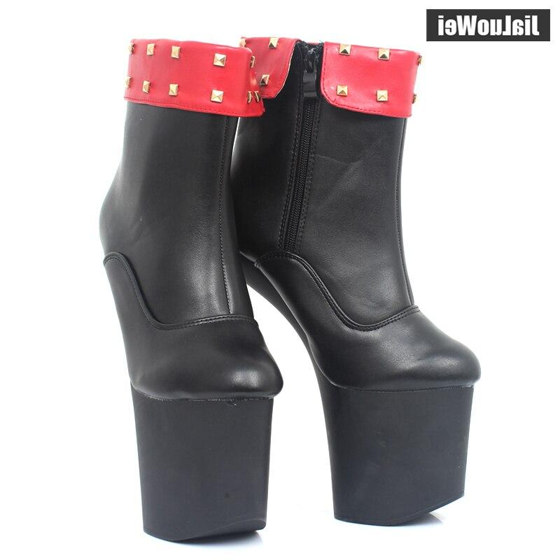 New Special Platform Hoof Heels Mid-Calf boots Decoration Comfortable heelless dance platform boots Match Color Black