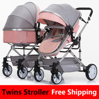 Newborn Baby Twins Strollers Double Twin Stroller 3 In 1 Weighlight Foldable Double Umbrella Stroller 0 3Y Salesmaker Carts