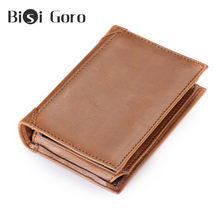 BISI GORO Luxury Vintage Credit Card Holder Crazy Horse Handmade Leather Men Wallets Multi-Functional Coin Purse Wallet For Men(China)