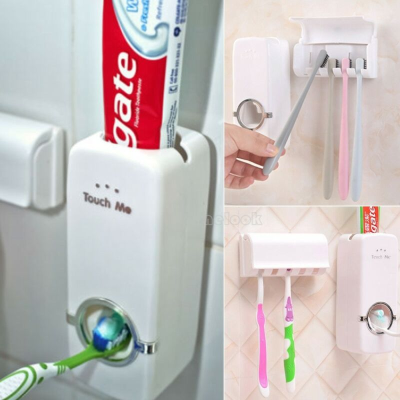 Toothbrush Holder Automatic Toothpaste Dispenser Holder Toothbrush Wall Mount Rack Bathroom Tools Set image