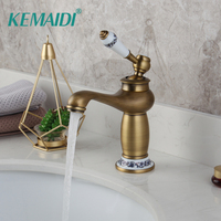 KEMAIDI RU Waterfall Modern Faucet Bathroom Faucet Hot & Cold Brass Basin Sink Faucet Single Handle with Ceramic Taps