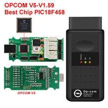 Opcom v5 com o firmware real v1.59 OP-COM v1.99 da microplaqueta de pic18f458 ftdi para a ferramenta diagnóstica de opel