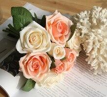 1 Bouquet Artificial Rose Decorative Fake Flowers Bride Wedding Bouquets for Home Party Decor Supplies