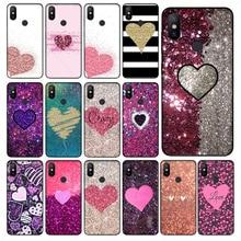 Yinuoda Sequins heart shape Luxury phone case for xiaomi redmi 7 5plus 6pro 6a 4x go note5 note7 note6pro mi8se 9se coque