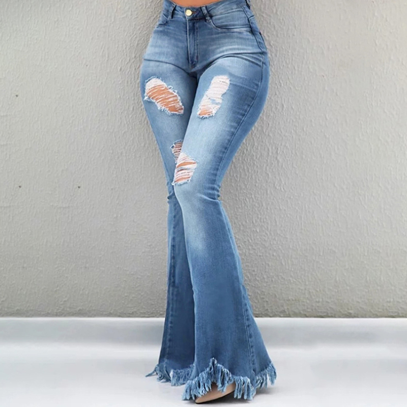 Plus Size Flare Jeans High Waist Wide Leg Jeans Woman Summer Thin Ripped Push Up Denim Pants Long Bell Bottom Jeans For Women
