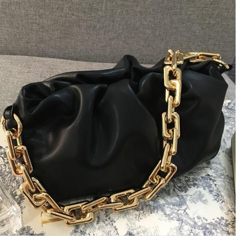 Luxurious Women Bag 2020 PU Leather Thick Chain Cloud Handbag Fashion Shoulder Underarm Bag Chain Women Bag Shoulder Bag