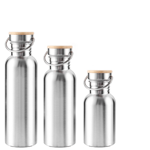 Portable Stainless Steel Water Bottle Bamboo Lid Sports Flasks Leak-proof Travel Cycling Hiking Camping Bottles BPA Free(China)