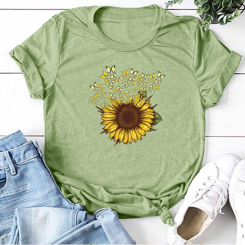 Sunflower Print Graphic Tees T-Shirt Women Aesthetic Short Sleeve T-shirt Cotton Summer Tops Women 2020 Clothing Camisetas Mujer