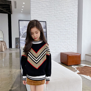New Stripe splicing V-shaped sweater parent child warm sweater children 3-9 years old adult S-M mommy and me clothes