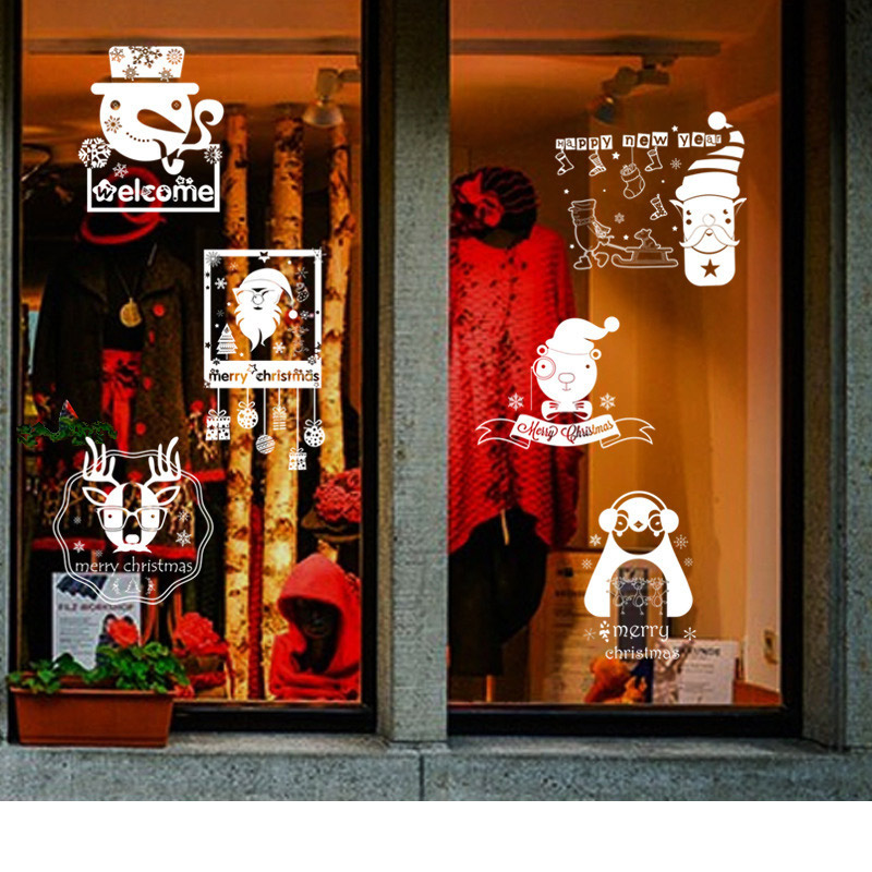 Merry Christmas with window decorations, glasses, stickers, paper stickers and