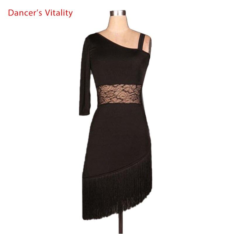 Latinský taneční kostým senior sexy Elegantní jednorázové rukávy krajkové latinské taneční šaty pro ženy latinský taneční soutěž šaty 5 barev