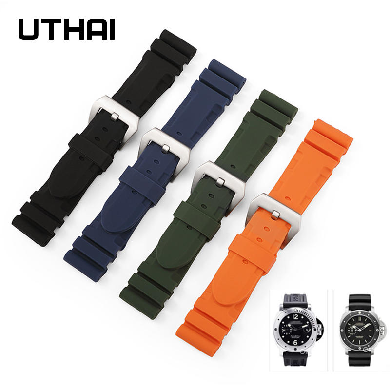 Watchbands Bracelet Strap Soft-Rubber UTHAI Waterproof 24mm Silicone Z38 Replacement