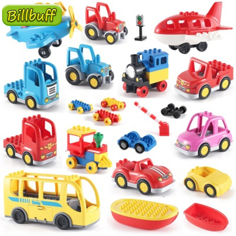 DIY Blocks Big Size Double Classic City Traffic Series Building Blocks Assemble Big Car Toy For Children Kids Birthday Gift Toy